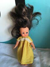 """Furga Mini Doll Brown Dark Hair Deep Blue Eyes 6"""""""