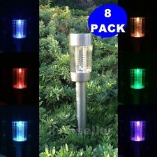 8-Pack Solar Powered Large Stainless Steel Lawn Patio LED Path Light Sun SENSOR