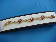 "!STUNNING 14K YELLOW GOLD, GENUINE RUBY AND DIAMONDS LADIES BRACELET 7"" LONG"