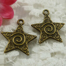 Free Ship 150  pieces bronze plated star charms 22x19mm #880