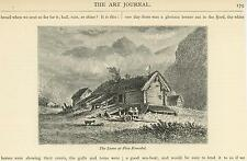 ANTIQUE NORWAY NORWEGIAN TIMBER FARM HOUSE YARD LAAVE FIVA ROMSDAL SMALL PRINT