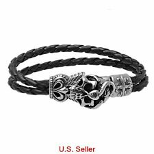 "9"" Men's Black Braiding Leather Cord Bracelet w/ Stainless Steel Skull Clasp 1pc"