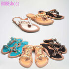 Causal Slip On Chunky Chain Thong T- Strap Flat Sandal Shoes Size 5 - 10 NEW