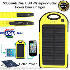 5000mAh Dual USB Portable Solar Battery Charger Power Bank Mobile Phones YELLOW