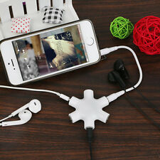3.5mm Headphone Earphone Splitter Audio Adapter w/ Connect Cable For Ipod White