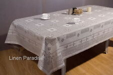 "100% LINEN Flax TABLECLOTH European Linen Damask Cloth - 61""x69"" (155x175 cm)"