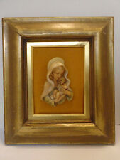 Vintage 1950's Madonna and Child Christianity Wax Relief Framed Picture Germany