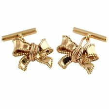 Christian Dior 18K Gold Ribbon Bow Cufflinks