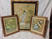 1965-70s 3pc Set Asian Motif Bamboo Framed Pictures of Geisha/Birds; Perfect