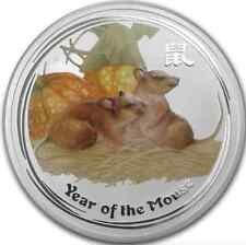 2008 Australia Lunar 1 oz Silver Colorized Mouse