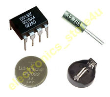 DS1307 Real Time Clock IC DIP 8 + 3V Battery + Battery Holder + 32.768Hz Crystal