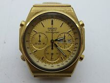 Vintage Seiko 7a38-7000 Chronograph Day Date Gold Plated Quartz Mens Watch