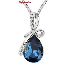 White Gold Plated Blue Sapphire Swarovski Crystal Teardrop Wedding Necklace N196