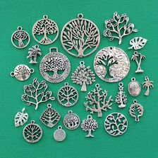 Tree Deluxe Charm Collection 25 Silver Tone Charms FREE Shipping E64