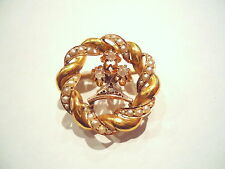 BELLE BROCHE ANCIENNE EN OR 18K PERLES ET ROSES DE PROVENCE or 18 carats