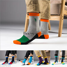 5 Pairs Lot Men's Business polo sport Crew Combed Cotton Socks Dress Casual