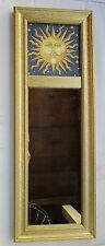 """RECTANGULAR MOON & STARS PICTURE MIRROR WITH GOLD WOOD FRAME 19.5"""" X 7"""""""