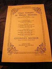Partition Cours complet de dictées musicales 3ème série Becker Accords consonant
