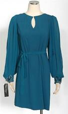 S.L. Fashions Teal Chiffon Cocktail Tunic Size 10 w/Beaded Details w/Defect *