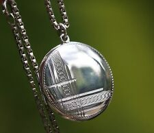 Vintage Sterling Silver Art Deco Original Locket 12 g with Silver 22 in Chain