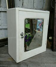 Rare Vintage antique Industrial Bathroom Medicine Cabinet white retro mirror old