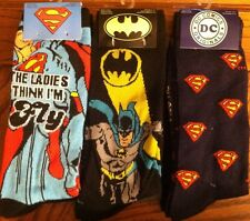 DC comics socks Superman Logo Batman logo size 6-12 6 pairs super Justice League