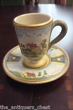 Veneto Flair cup & saucer hand etched and painted in Italy, signed,c1980s[a4-2]