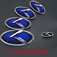 Blue K Logo 3D Emblem 3pc Front+Rear+Steering Wheel (Fit KIA 2011-17 Optima K5)
