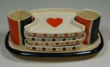 Royal Doulton 1930's Tobacconalia Playing Cards Bridge Set Match Striker Holders