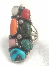 Vintage Sterling Silver Turquoise Spiny Oyster Ring Size 10.75 14.2g Southwest
