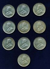 AUSTRALIA GEORGE V 1925 1 SHILLING SILVER COINS, XF, GROUP LOT OF (10) COINS
