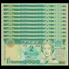 Lot 10 PCS, Fiji 2 Dollars, 2002, P-104, UNC