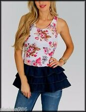 O2 White Pink Brown Denim Multicolor Floral TOP Sexy Shirt Blouse Juniors S M L