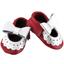 Genuine LEATHER Mary Jane Lace MOCCASIN for Baby/ Toddler RED Mocc 18-24 months