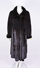 REAL FUR COAT MINK NORKA MINKCOAT FULL LENGHT FEMALES DARK SIZE L-XL FURCOAT