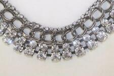 shiny gun metal sparkle clear rs rhinestone goth double chain necklace 18- 20.5""