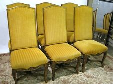 """6 Century Furniture """"Coeur de France"""" Carved French Side Dining Chairs"""