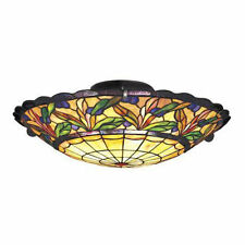 CRYSTAL LEAF TIFFANY STYLE FLUSH CEILING LIGHT ( STUNNING QUALITY )