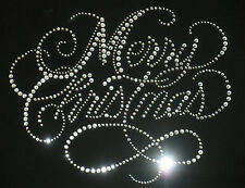 """9"""" x 7"""" clear Merry Christmas rhinestone SpArKle iron on transfer for T-shirt"""
