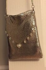 Whiting and David Silver Metal Mesh Purse Evening Shoulder Crossbody with beads