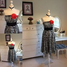 Gorgeous Monsoon Size 16 Black And White Stripe Strapless Dress Wedding / Prom