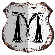 BP-0103 Alphabet Initial Letter M Shield Chic Sign Bar Pub Shop Home Decor Gift