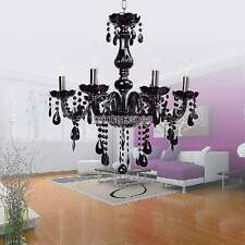 Black European Crystal Chandelier Vintage Modern Ceiling Fixture 6 Light Lamp