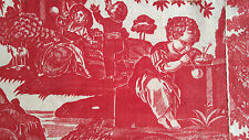 French antique true hnd quilted Toile de Beautiran castle dog sheep goat chicken