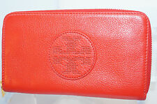 Tory Burch Wallet Kipp Zip Continental Red Bag Clutch Handbag Leather NWT