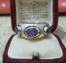 VINTAGE 925 STERLING SILVER RING WITH  SUPERB AMETHYST TRILOGY SIZE P