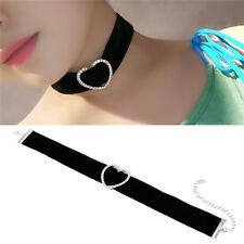 Chic Heart Shaped Women Black Velvet Collar Choker Chain Pendant Necklace Gift