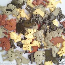 50g  Jungle animal buttons giraffe monkey   browns/beiges 2 holes