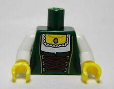 LEGO - Torso Female Laced Corset w/ White Blouse & Gold Pendant - Dark Green