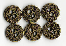 6x Vintage Metal Dragon Brass Buttons - 10mm Jacket Cuff ~ Bennett's Buttons